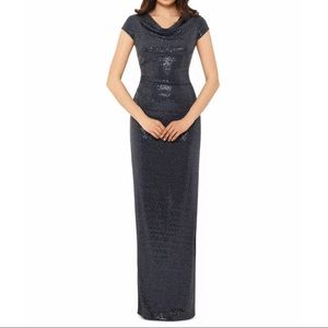 XSCAPE New Gray Sequined Cut Out Cap Sleeve Sheath